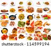 Bunch of food in one collage - stock photo