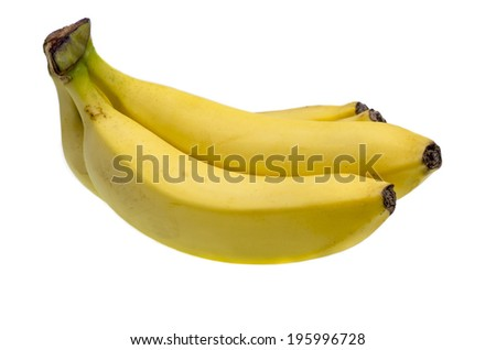 Bunch of fresh bananas isolated on white - stock photo