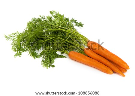 Bunch of fresh carrot isolated on a white background - stock photo