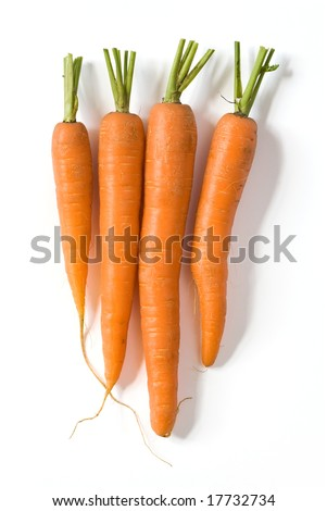 Bunch of fresh carrots isolated on white background. Clipping path included. - stock photo
