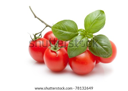 Bunch of fresh cherry tomato with basil, on white background - stock photo