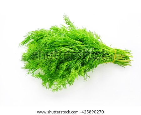 Bunch of fresh dill isolated on white background.