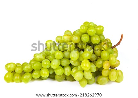 Bunch of fresh grapes isolated on white - stock photo