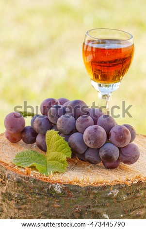 Bunch of fresh grapes with leaf and glass of wine on wooden stump in garden, healthy nutrition, ingredient for preparation of wine