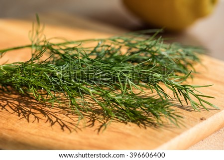bunch of fresh organic dill on a rustic wooden background with day light - stock photo