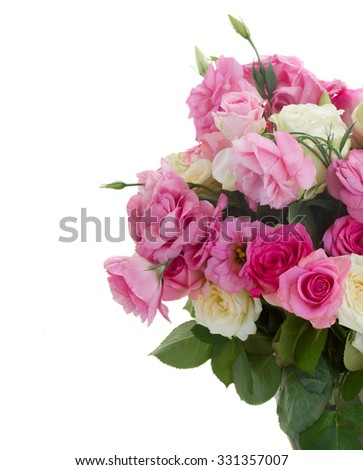 bunch of fresh pink and white fresh roses and eustoma flowers  isolated on white background