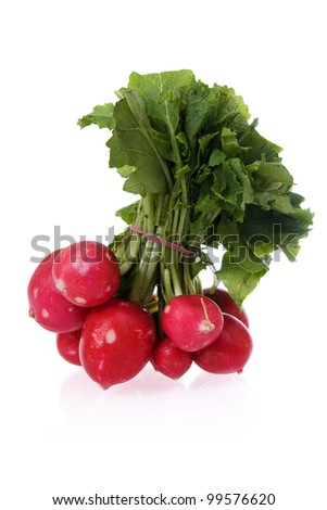 Bunch of fresh radishes  isolated on white.