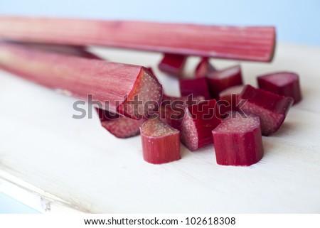 Bunch of fresh rhubarb - stock photo