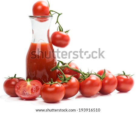 Bunch of fresh tomatoes and juice, isolated on white background.