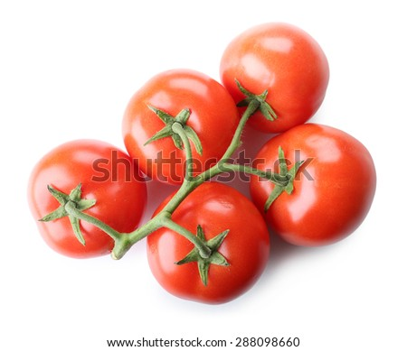 Bunch of fresh tomatoes isolated on white - stock photo