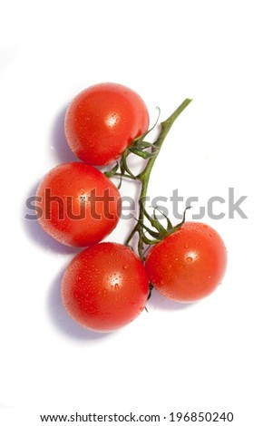 Bunch of fresh tomatoes with water drops. Isolated on white background. Top view. - stock photo