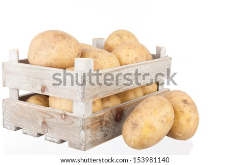 bunch of freshly harvested potatoes in a wooden crate - stock photo