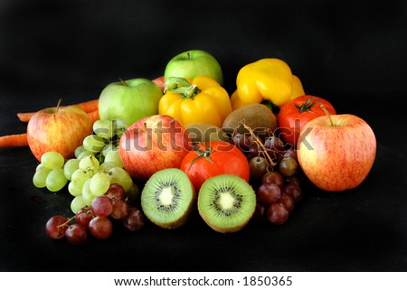 bunch of fruits & vegetable - stock photo