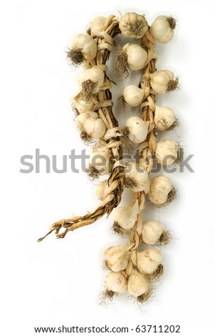 Bunch of garlic bulbs on white background - stock photo