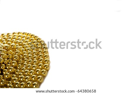 bunch of gold beaded string or garland isolated on white for your text