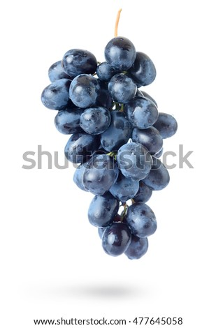 Bunch of grapes with water drops, isolated on white background