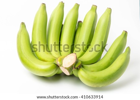 bunch of green banana  on a white background  - stock photo
