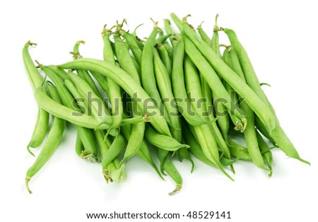Bunch of green beans on white background