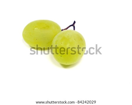 bunch of green grapes on a white background - stock photo