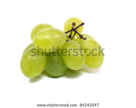 bunch of green grapes on a white background