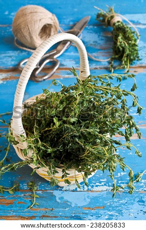 Bunch of green sprigs of thyme on the background of the old boards are painted in blue color