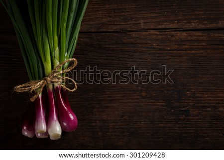 Bunch of green spring onions tied with a rope on rustic wooden table, left side - stock photo