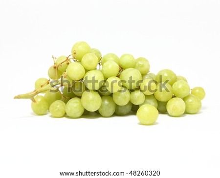 bunch of healthy green grapes isolated - stock photo