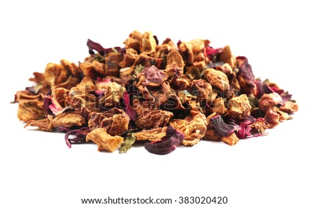 Bunch of herbal mix tea, isolated on white