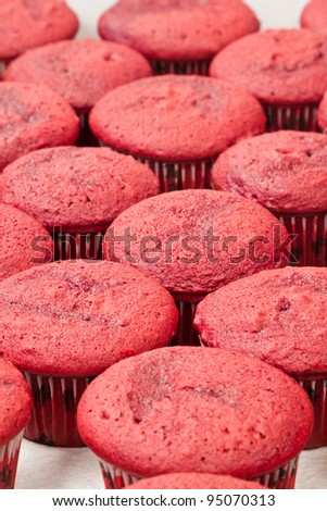 bunch of home made red velvet cupcakes in rows - stock photo
