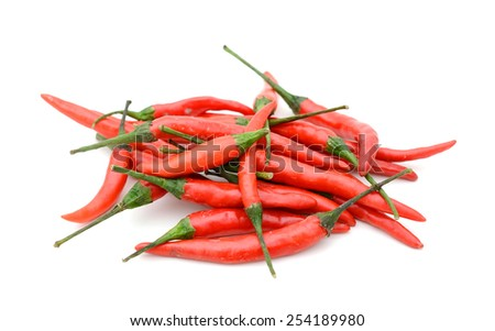 bunch of hot chilli peppers isolated on white - stock photo