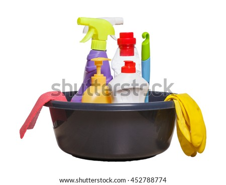 Bunch of household cleaning products on white background - stock photo