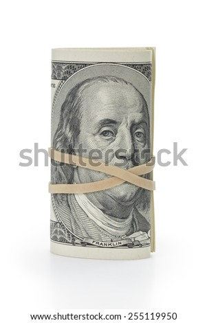 bunch of hundred dollar bills tied with rubberband