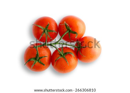 Bunch of juicy ripe red organic tomatoes on the vine for a tasty salad and cooking ingredient, view from above on a white background - stock photo
