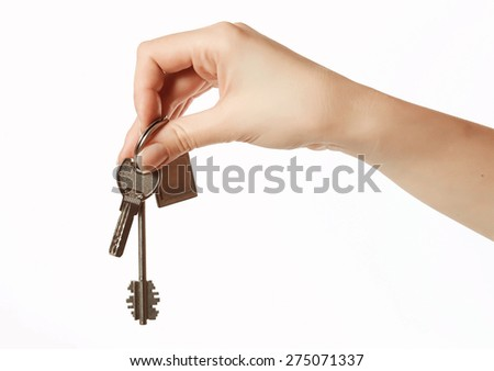 bunch of keys from the castle in a female hand
