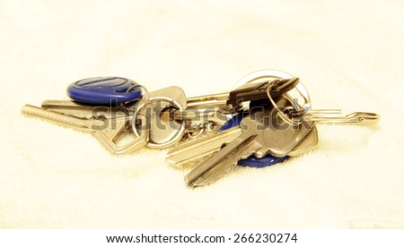 Bunch of keys isolated on the white background - stock photo