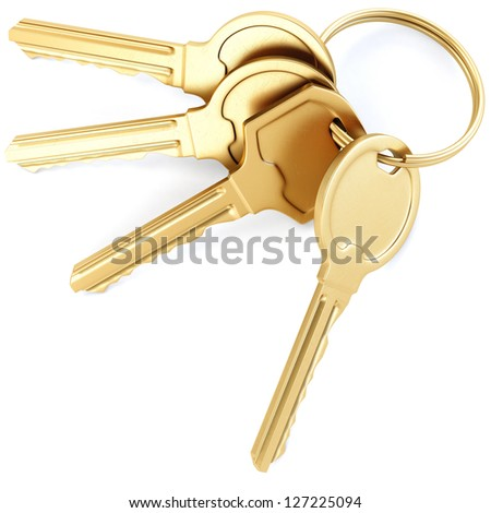 bunch of keys. isolated on white background. - stock photo