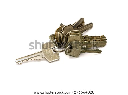 bunch of keys the isolated - stock photo