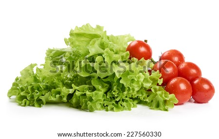 Bunch of lettuce and tomatoes isolated on white