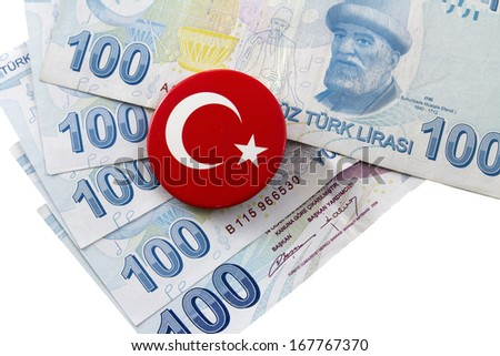 Bunch of Lira with Turkish flag, isolated on white - stock photo