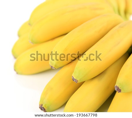 Bunch of mini bananas isolated on white