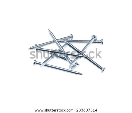 bunch of nails isolated on white background - stock photo