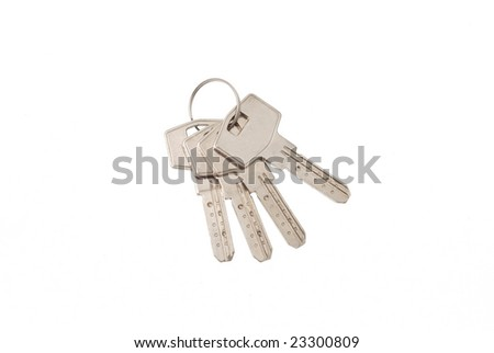 Bunch of new mosern iron keys on white background 4