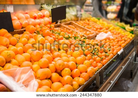 Bunch of oranges in supermarket