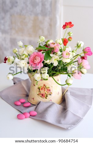 Bunch of pink and white ranunculus