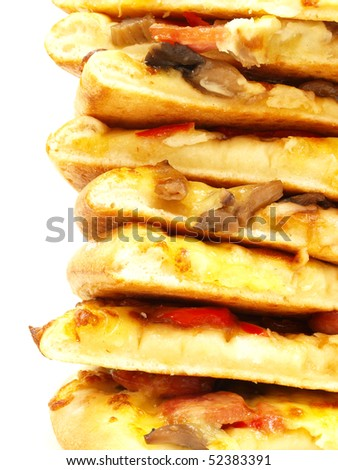 bunch of pizza slice in vertical - stock photo