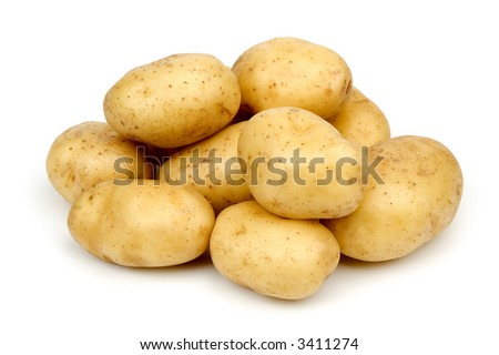 bunch of potatoes on white background close up shoot - stock photo