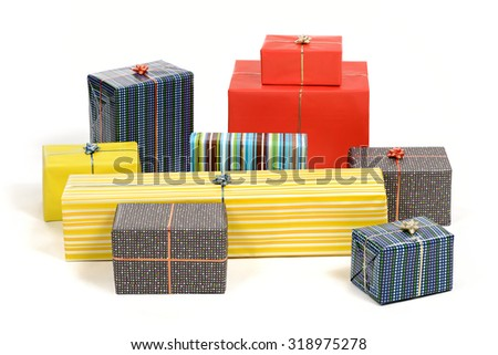 Bunch of presents and gifts - stock photo