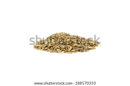 Bunch of pumpkin seeds. Isolated on a white background.