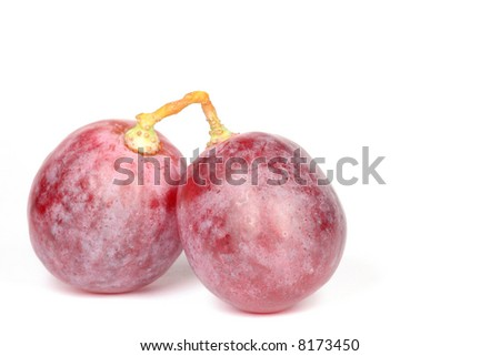 Bunch of purple grapes on white background - stock photo