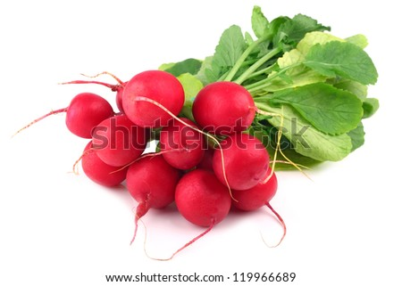 bunch of radishes on white background